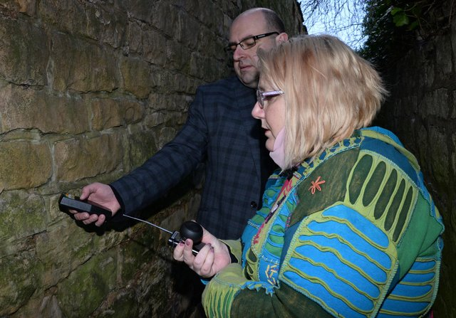 Dean Buckley and his partner Veronica, of Conisbrough Paranormal Research Association, pictured at Bogie Alley. Picture: NDFP-16-03-21-BogieAlley 7-NMSY