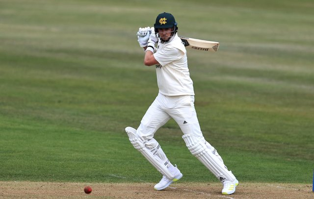 Stuart Broad of Nottinghamshire drives the ball to the boundary during the LV=Insurance County Championship match between Nottinghamshire and Warwickshire at Trent Bridge.  (Photo by David Rogers/Getty Images)