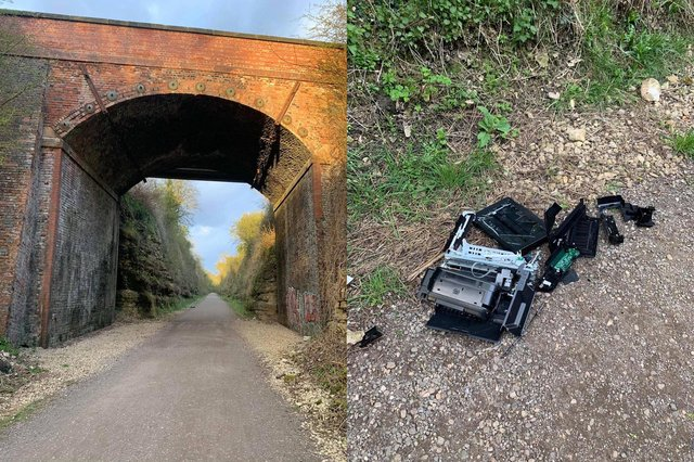 The printer which was dropped on the walking trail at Clowne. Image: Clowne Forum/Facebook.