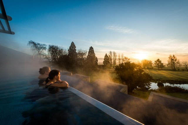 The rooftop infinity pool at Ragdale Hall.