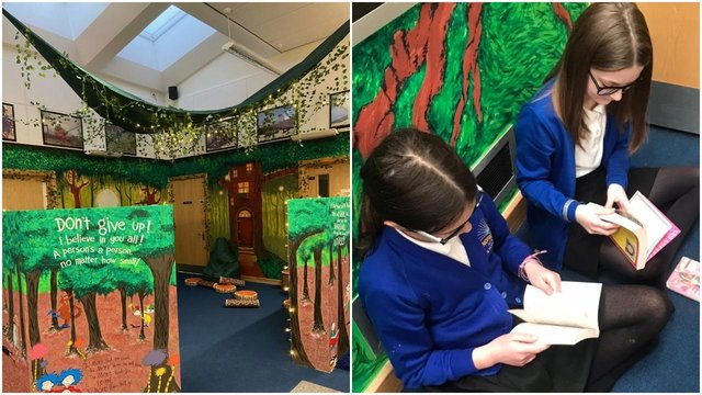 """: """"I absolutely love the hanging canopy above our library area, it makes me want to visit our library and read different books."""""""