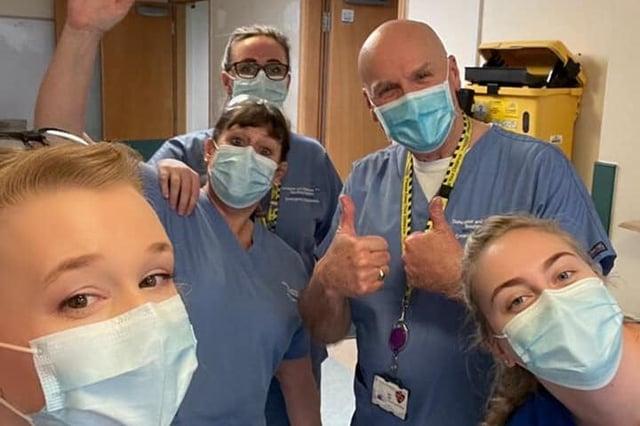 Staff at Bassetlaw Hospital celebrate no active cases of coronavirus.