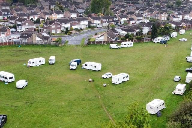 The illegal encampment at Farr Park, Worksop.