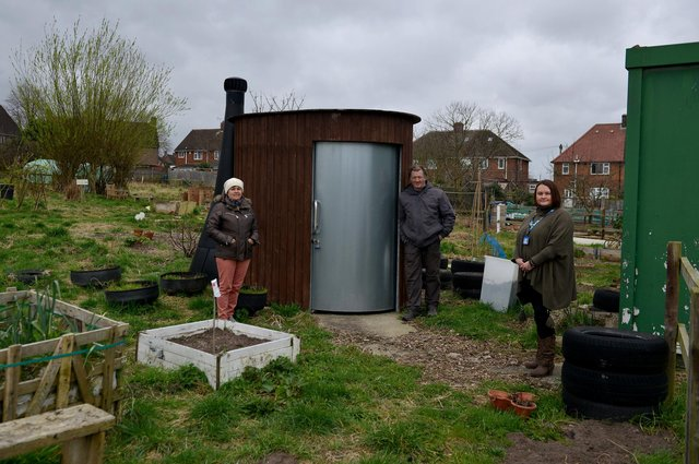 Willow Community Garden are looking for residents and community groups to help transform place for residents and organisations to use.  Pictured from left are volunteers Sue Squire and Steve Franklin with Social Prescribing Link Worker Sonya Bown