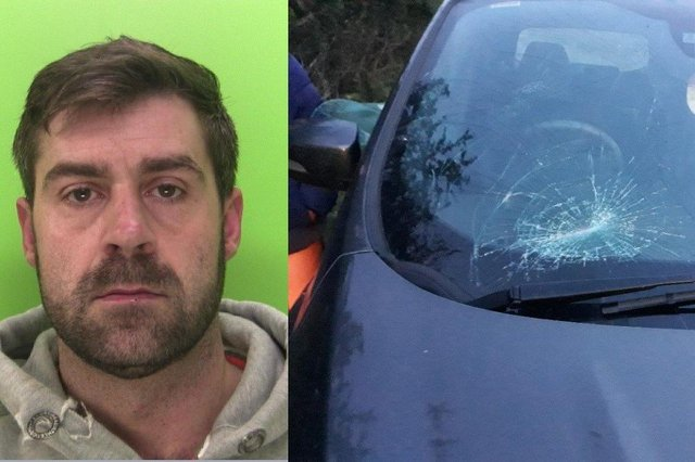 Steven Dobb, 39, has been jailed for the attack on his ex. The damage to her car. Images: Notts Police.