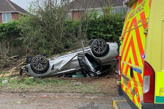 Police say drivers and passengers were saved in car crashes like this one because they were wearing seatbelts. Photo: Nottinghamshire Fire & Rescue.