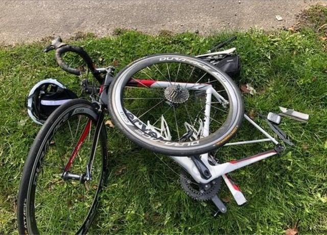 Sgt Luckett's mangled bike.
