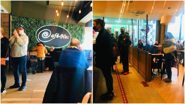Cafe-Neo and Costa were bustling with customers.