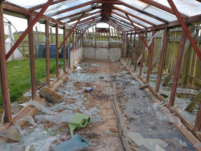 An elderly man's greenhouse was smashed up in the Bolsover and Clowne area earlier this week.