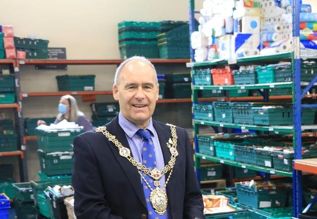 New charter mayor Tony Eaton at Bassetlaw Food Bank where he volunteers.