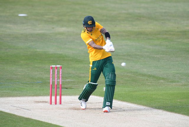 Alex Hales was unbeaten on 101 off 66 balls in Notts Outlaws' win over Lancashire.(Photo by Tony Marshall/Getty Images)